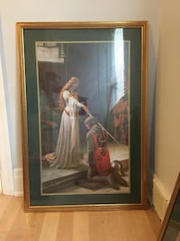 woman in white dress painting with brown wooden frame Whitby, L1N 1B4