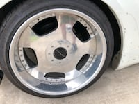 gray 5-spoke vehicle wheel and tire null