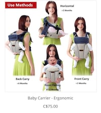 Baby carriers, swim reusable diapers, breast pump & baby monitor