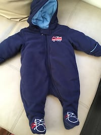 toddler's blue zip-up hooded snowsuit