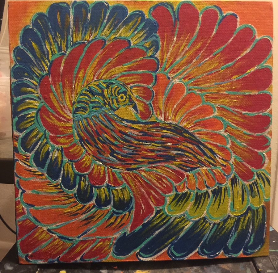 red and blue peacock painting
