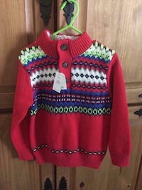 babyGap NWT Boys 3T Red Sweater, Sherpa Lined Collar With Buttons, Smoke & Pet Free Home London, 40741