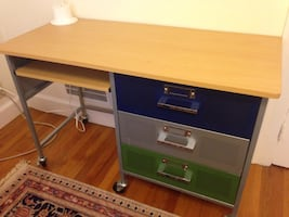 "Nice metal desk on wheels 48"" by 21"""