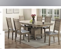 rectangular brown wooden table with six chairs dining set Arlington, 22206