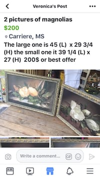 two gold painting frames Facebook post