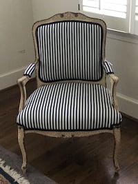 black and white stripe fabric sofa chair Potomac, 20854