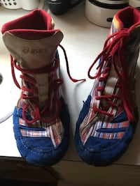 Pair of blue-and-red wrestling shoes  709 mi