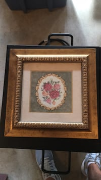 brown wooden framed painting of white and red flowers Perry Hall, 21128