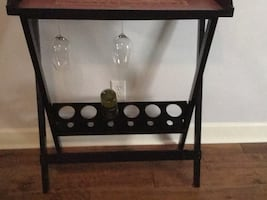 Wood wine rack table with removable tray top
