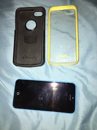 Blue iPhone 5c with 2 cases St Albert, T8N 2W6