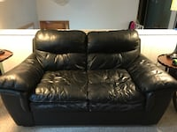 Black leather sofas (2 two seaters) wear on front of both but perfect for someone just starting out East Hartford, 06118