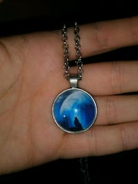 silver-colored blue gemstone wolf pendant necklace San Antonio, 78228