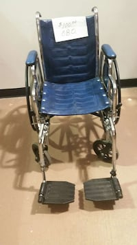 blue and stainless steel wheelchair