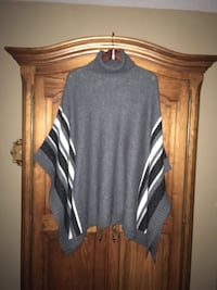 Ladies poncho sweater Size ONE SIZE colour grey with black & grey & white strips Oakville, L6K 1Y8