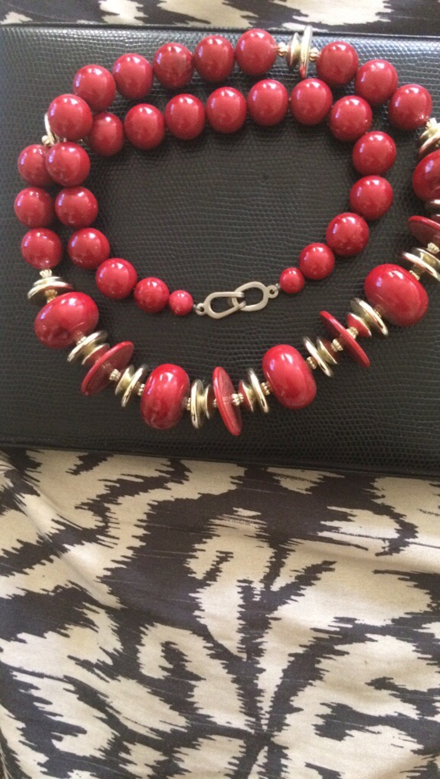 Red/ Gold beaded necklace  - Echo Park
