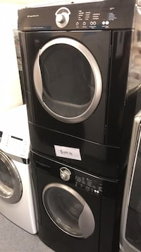 black and gray front-load clothes washer