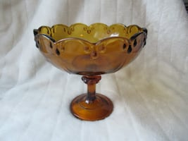 Vintage Amber Glass Pedestal Bowl