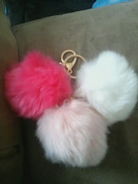 three pink, pink and white fur keychains Dale City, 22193