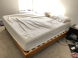 Tuft & Needle King Mattress and Wooden Bedframe
