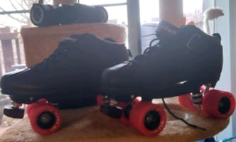 Skate wheels and bearings, with Riedell boots..