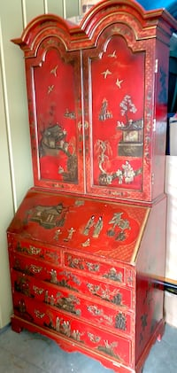 Red Lacquered Chinoiserie Secretary Cabinet early 20th Century Minneapolis, 55419