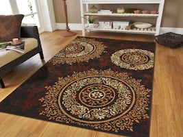 new Brown rug Modern area rug 5x8 medallion black