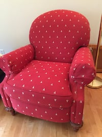 Reclining nautical chair with sun tells fabric . Purchased from Calico Corner Bolton, 01740