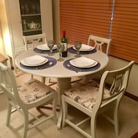Drop leaf table and chairs makeover,with French courtier fabric London, N5Y 5G3