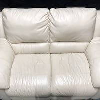 White Leather Love Seat Troy, 22974