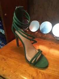 pair of green leather ankle strap heeled sandals Wesley Chapel, 33543
