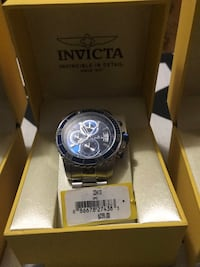 round silver Invicta chronograph watch with link bracelet in box Boca Raton, 33432