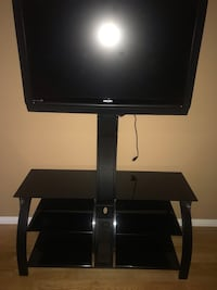 Tv stand with glass shelves and tv mount.  Ajax, L1T 1W6