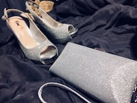Pair of gray peep-toe platform pumps and matching clutch