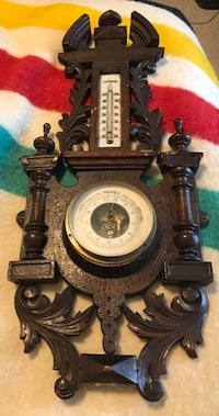 Early 1900's Black Forest Style French Aneroide Wall Barometer and Centigrade Thermometer
