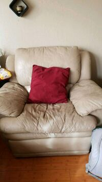 white leather sofa chair with throw pillow Castro Valley, 94546
