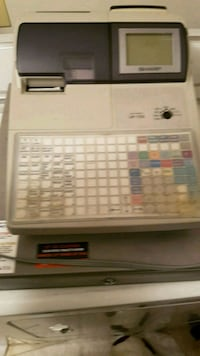 white and gray  cash register