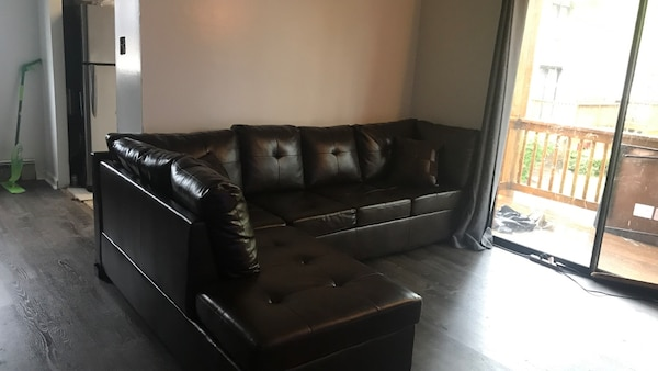 Terrific Dark Brown Leather Tufted Sectional Sofa Ncnpc Chair Design For Home Ncnpcorg