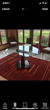 Round Glass Table w/Wood Base & 6 Chairs.