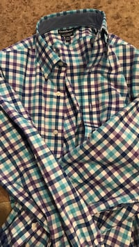 New without tags purple Blue plaid dress shirt men's 15 1/2 Freeport, 61032
