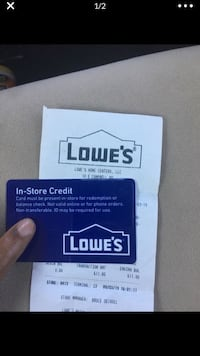 Lowe's in store credit $611.80 for $400  Nashville, 37216