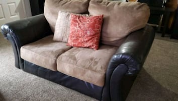 Velvet and Leather Love Seat