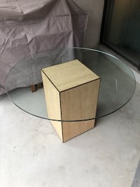 Solid marble and glass top table