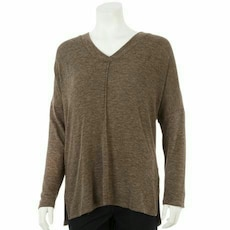 brown v-neck long sleeved shir