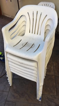 white and blue plastic chair