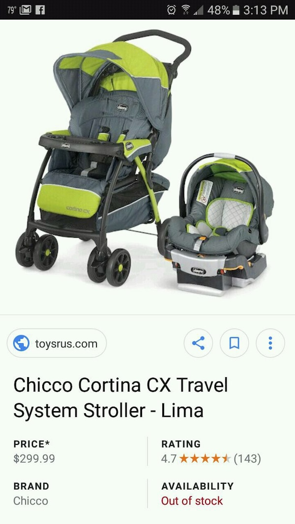 Baby S Gray And Green Chicco Cortina Travel System