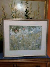 white petaled flower painting with brown wooden frame Kirkland, H9J 2M1
