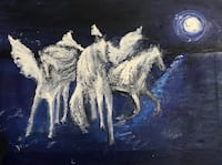 three Pegasus horse painting