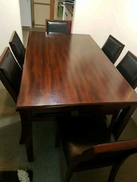 Dinner table with 6 leather chairs port coquitlam  Port Coquitlam, V3C 6B9