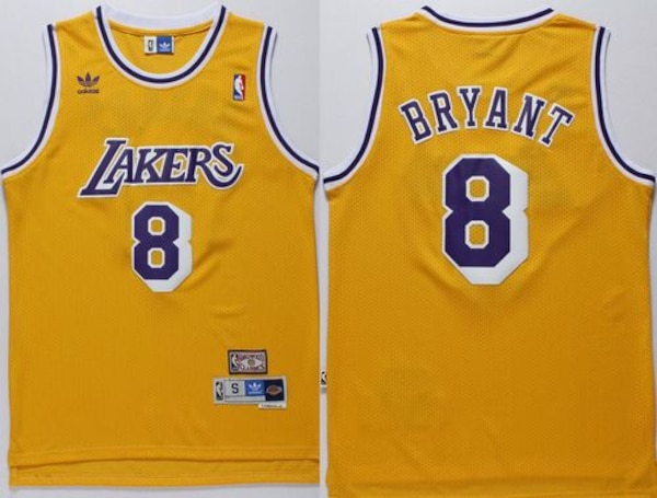 online store e46a3 77e64 Lakers #8 Kobe Bryant Gold Throwback Stitched Basketball Jersey