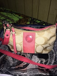 white and pink Coach leather tote bag Red Deer, T4N